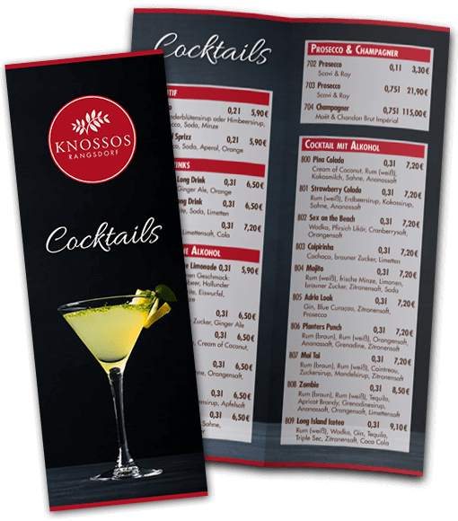 Cocktail Karte.Restaurant Knossos Griechische Gastlichkeit In Rangsdorf